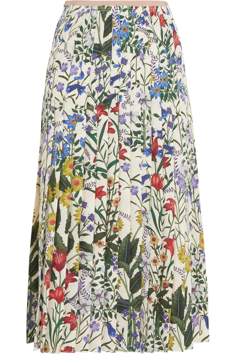 Gucci Pleated Floral Skirt in Ivy and Nude Skirts