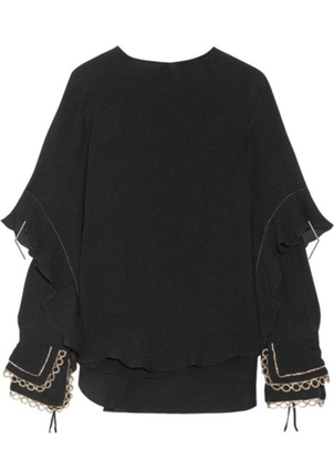 Chloé Silk Seersucker Blouse Tops
