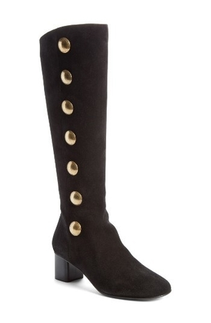 Chloé Button-Embellished Suede Knee Boots Shoes