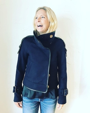 Veronica Beard Lafayette Funnel Neck Snap Jacket Outerwear