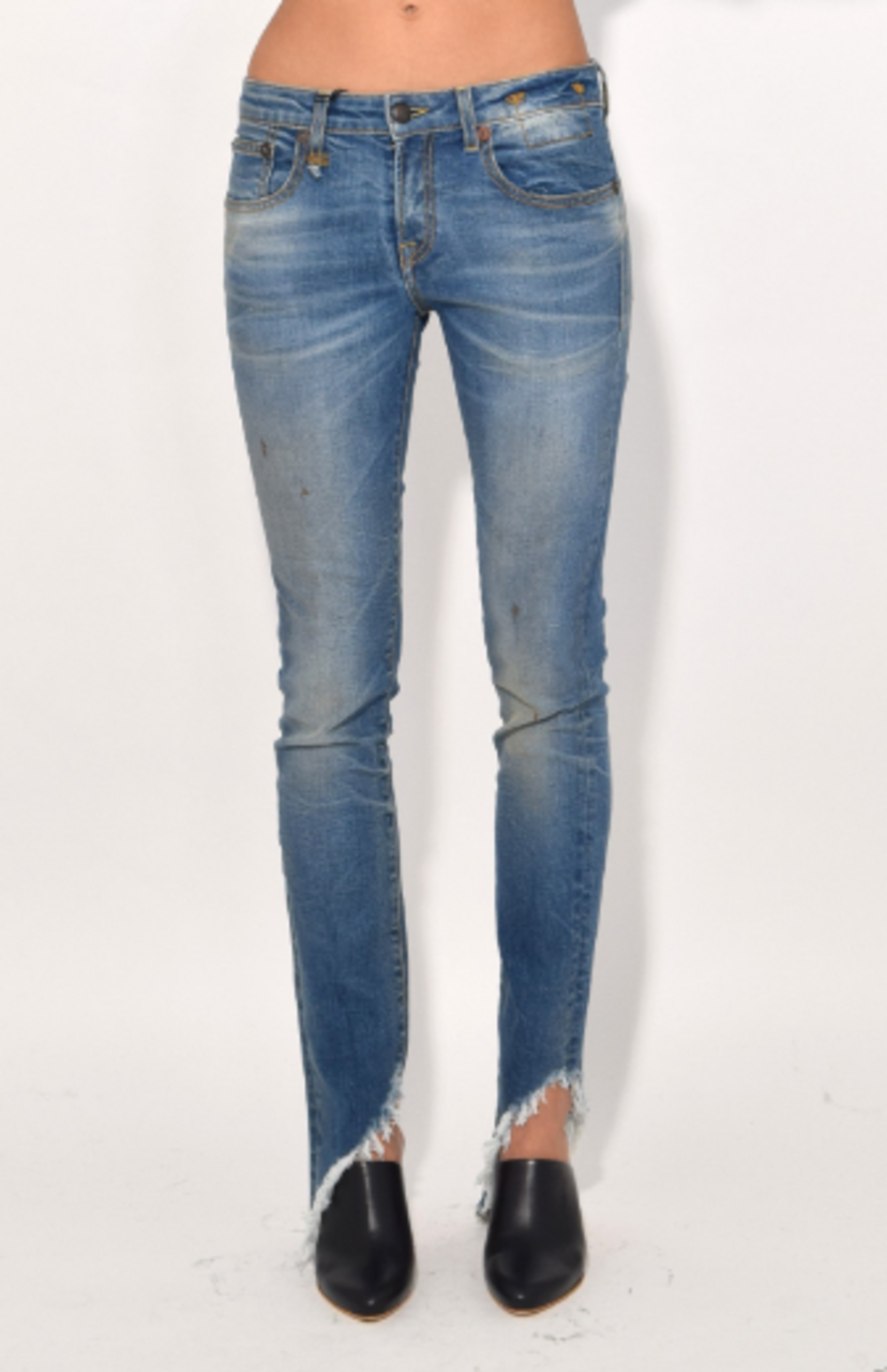 R13 Kate Skinny Jean in Branson with Angled Hem Pants
