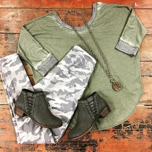 Chaser G.Spinelli Lyssé Minnetonka Smoke Camo + Olive Jewerly Pants Shoes Tops