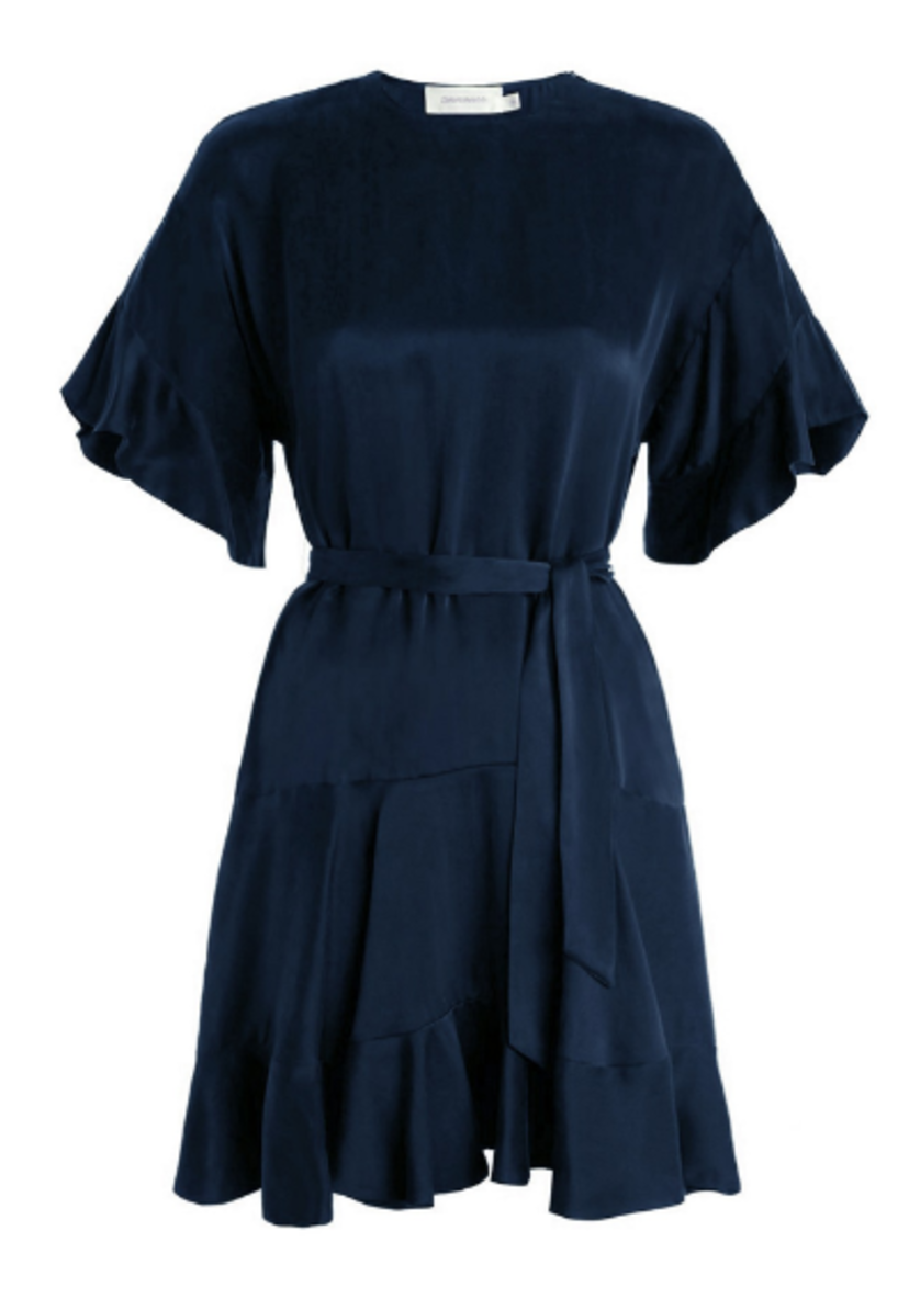 Zimmermann Sueded Flounce Dress in French Navy Dresses