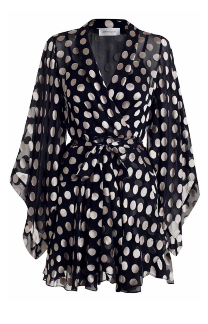 Zimmermann Folly Kimono Dress in Navy/Pearl Dresses