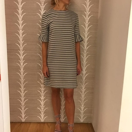 Striped Mid Sleeve Dress