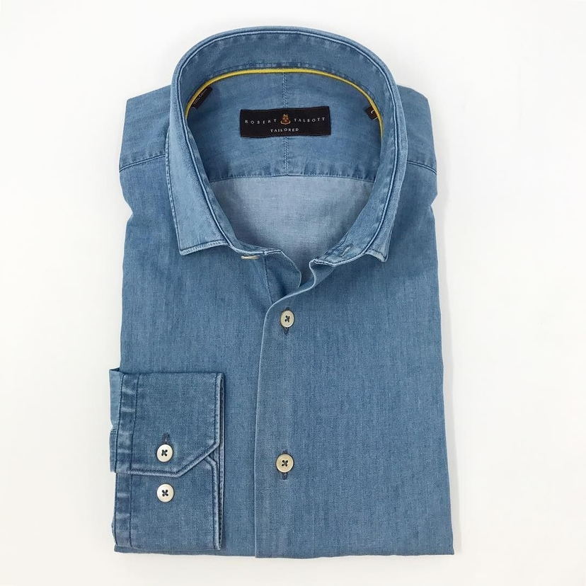 Robert Talbott Light Wash Denim Shirt Tops