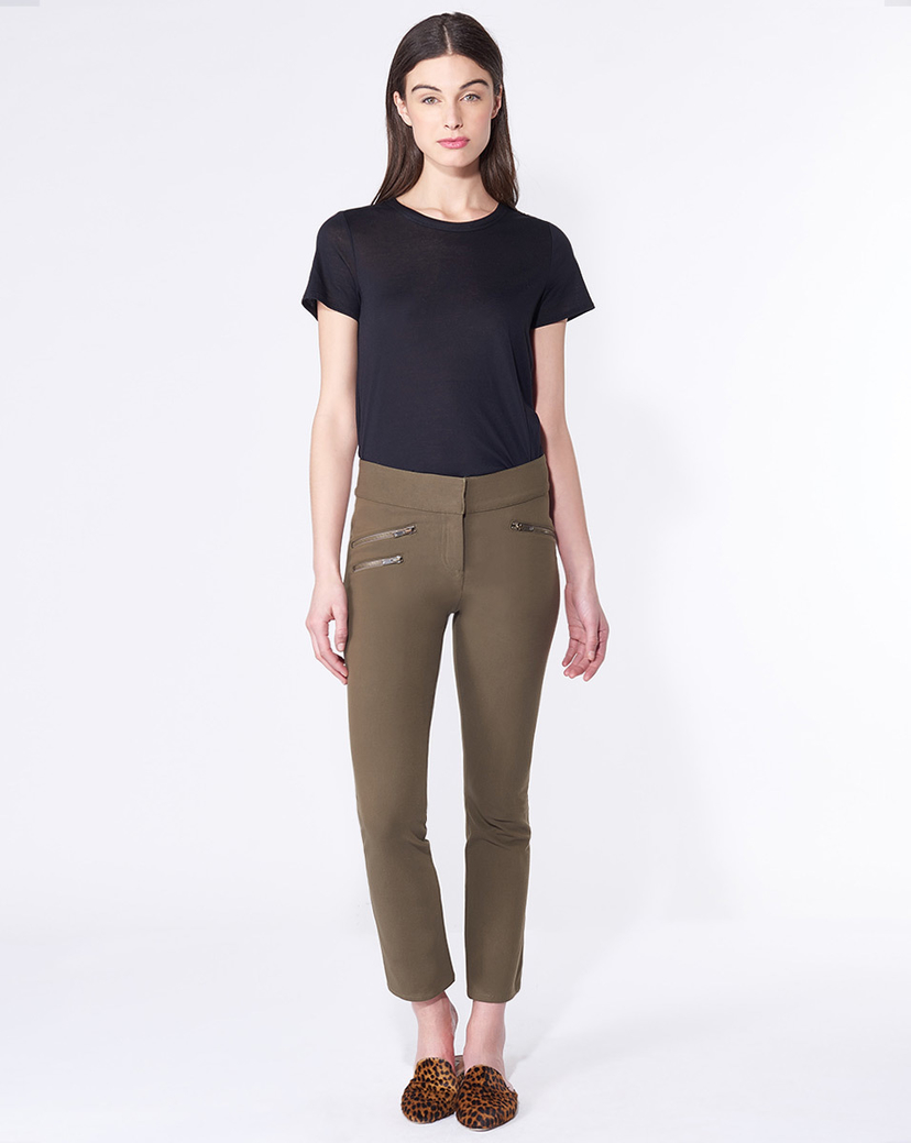 Veronica Beard Adelaide Zip Pocket Crop Pant Pants
