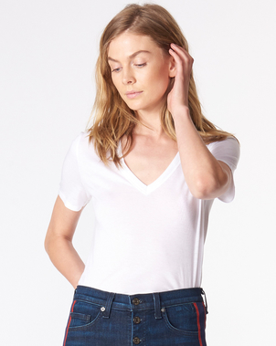 Veronica Beard Cindy V-Neck Tee in White Tops