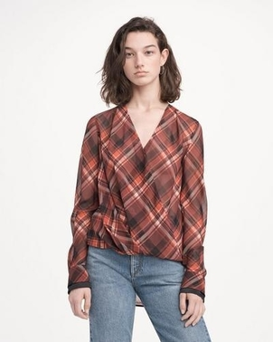 rag & bone Victor Blouse in Red Plaid Tops