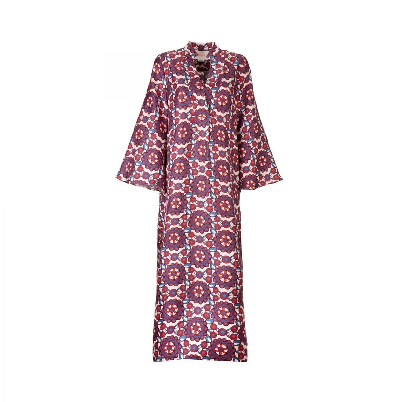Long Sleeve V Neck Kaftan in Kaleidoscope