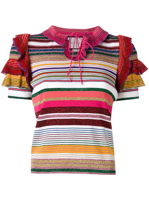 Gucci Mutlicolor Stripe Ruffle Top Tops
