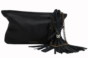 Embrazio Catina Leather Wristlet in Black Bags