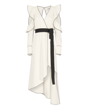Self-Portrait Monochrome Asymmetrical Wrap Dress Dresses