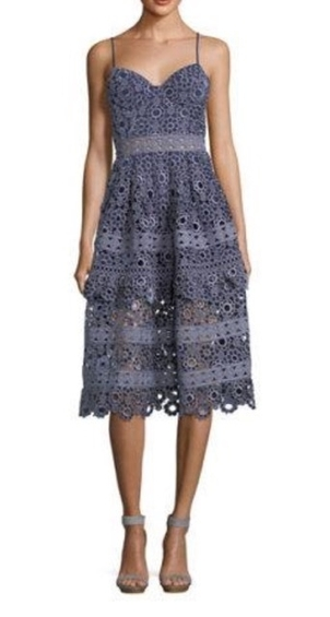 Self-Portrait Floral Embroidered Cut Out Midi Dress