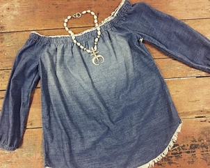 Love Tokens Jewelry Side Stitch Off The Shoulder Top in Blue Hills Wash Jewerly Tops