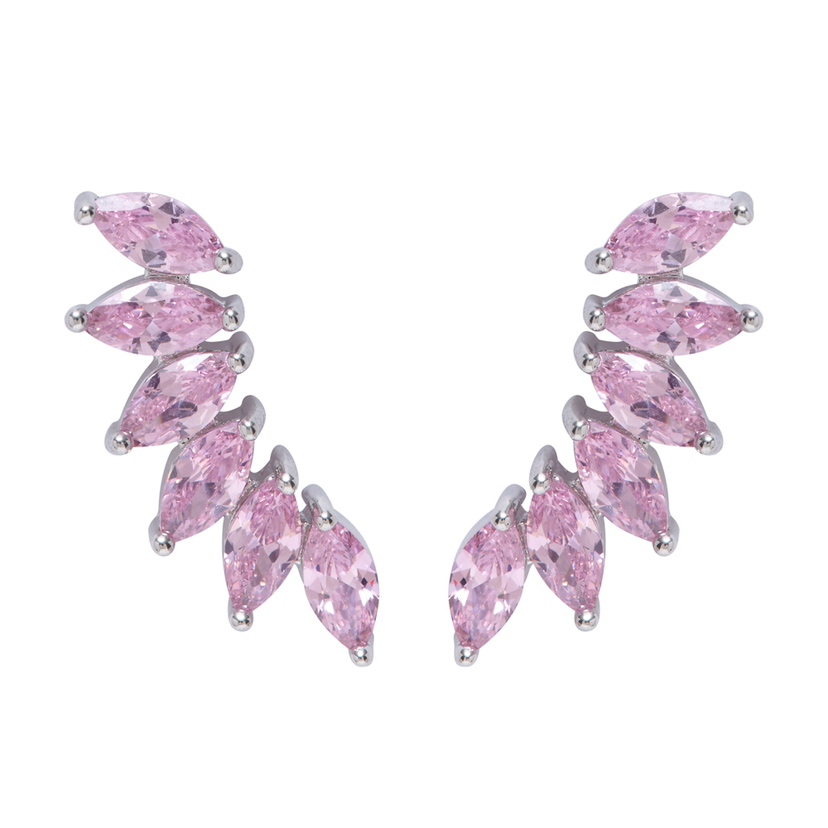Wing Climber Earrings - Pink