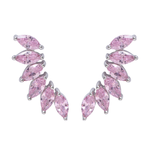 Fallon Jewelry Wing Climber Earrings - Pink Jewelry