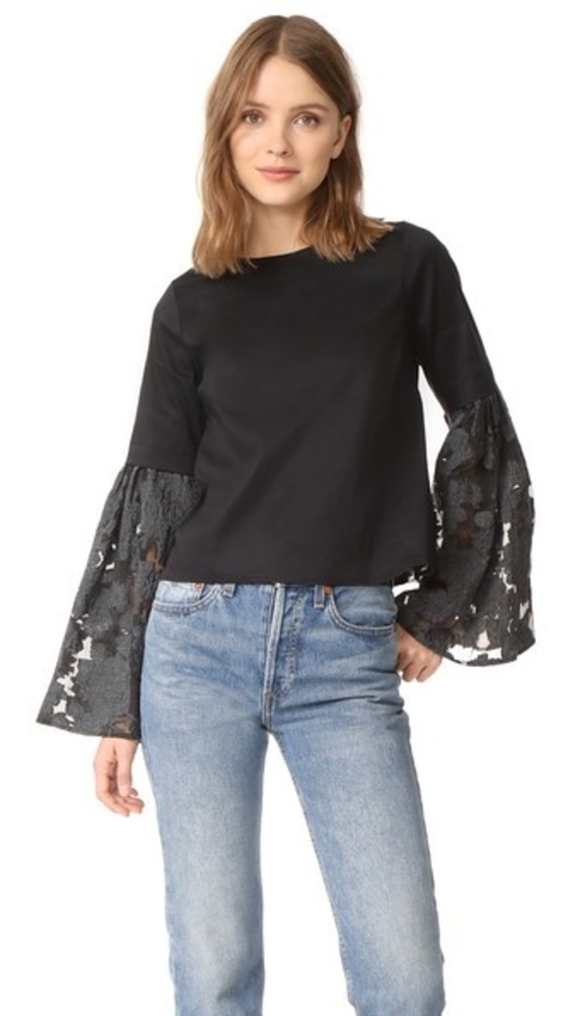 Sea Lace Bell Sleeve Top Tops