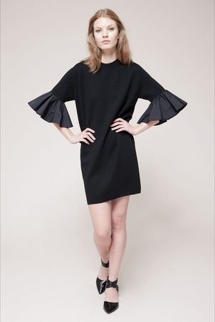 Albino Teodoro Flutter Sleeve Dress in Black Dresses