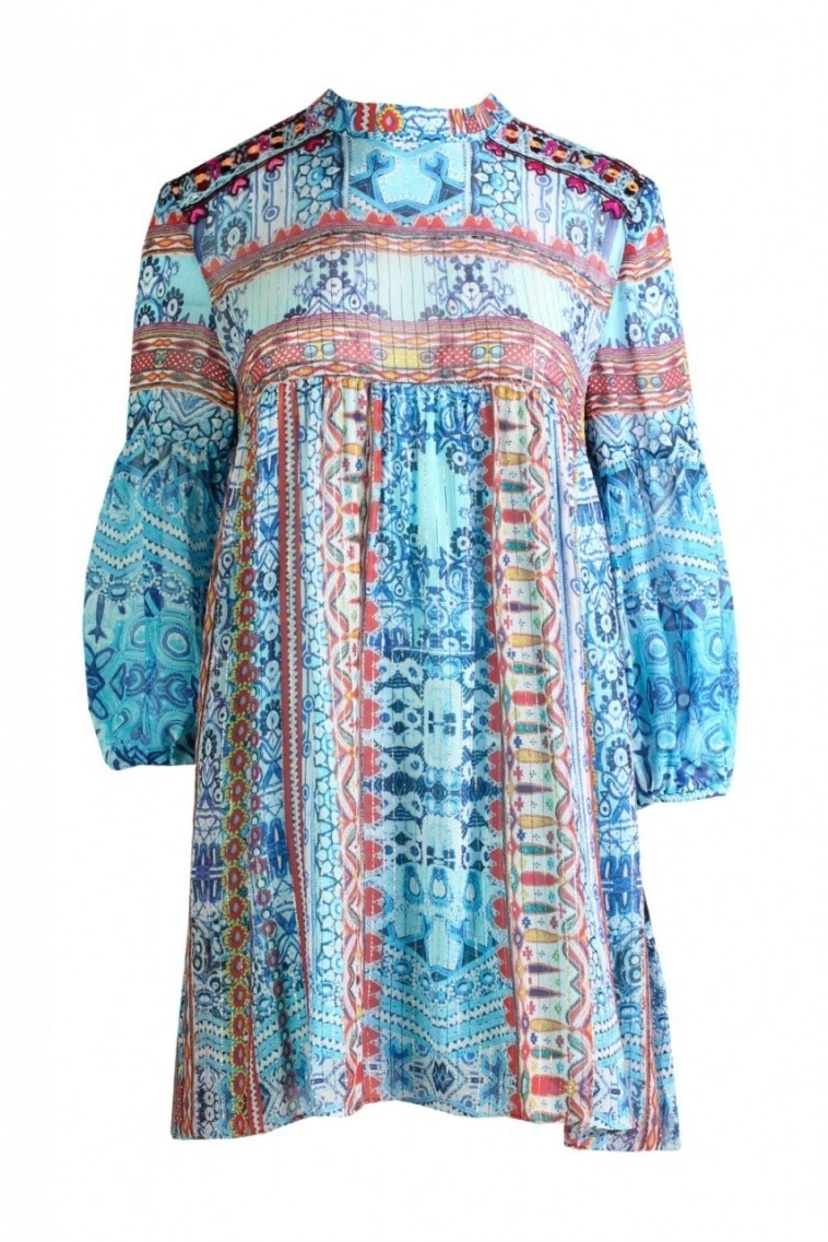 Tribesman Tunic Dress in Turquoise