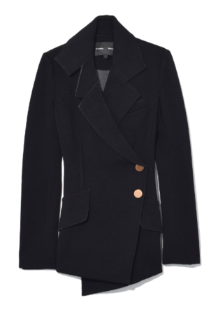 Proenza Schouler Double Breasted Asymmetric Blazer in Black Outerwear