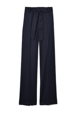 Pringle of Scotland Washed Cotton Wide Leg Trouser in Midnight Pants