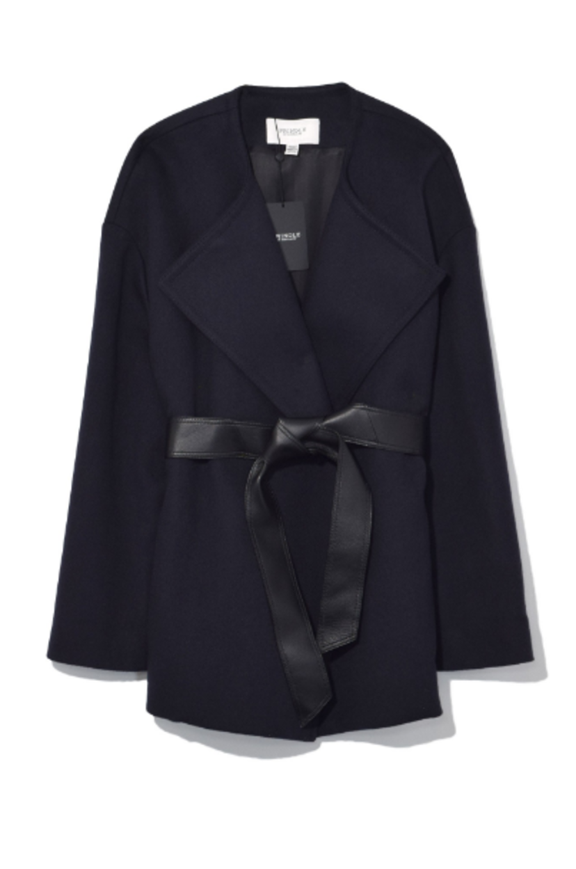Wool Cashmere Wrap in Midnight