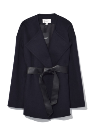 Pringle of Scotland Wool Cashmere Wrap in Midnight Outerwear