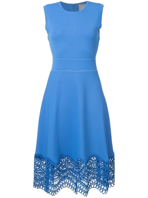Lela Rose Lela Rose Blue Sleeveless Dress with Crochet Detailing Dresses