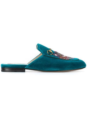 Gucci Gucci Blue Velvet Princetown Slippers  Shoes
