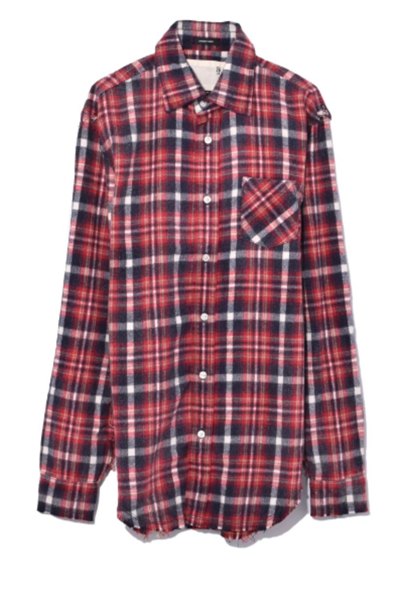 Shredded Seam Shirt in Red Plaid