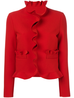 MSGM Ruffle Jacket in Red Outerwear