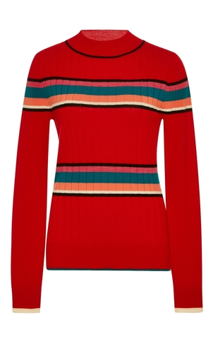 TOME Ribbed Red Striped Sweater