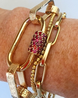 Marla Aaron Greek Keys Bracelet & Red Songea Sapphire Lock Jewelry