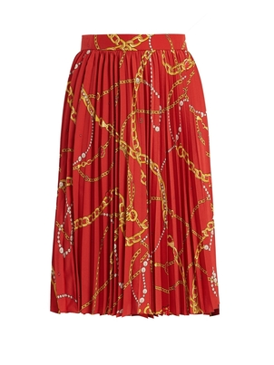 Balenciaga Red Pleated Skirt with Printed Chains Skirts