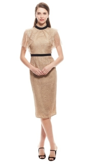 Lela Rose Lela Rose Ruffle Front Fitted Sheath Dresses