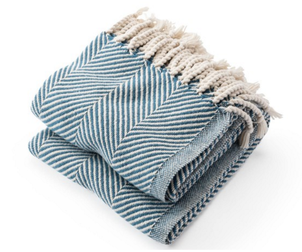 Brahms Mount Herringbone Throw Blanket - Natural/ Indigo Home decor