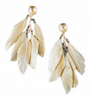 Shiver + Duke Feather Earrings - Gold Jewelry