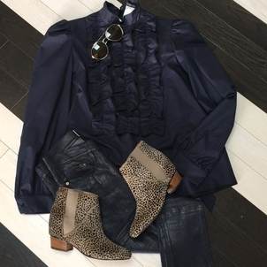 Ruffles and Leather Pants Shoes Tops