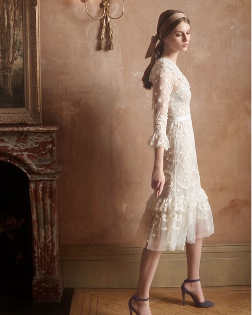 Needle & Thread Ivory Beaded and Lace Dress Dresses