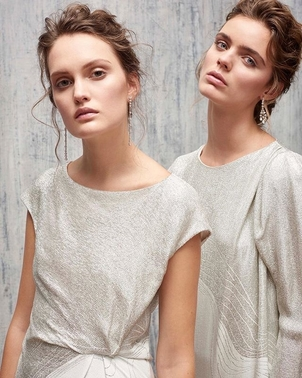 AUDRA Silver Lame Tops Tops