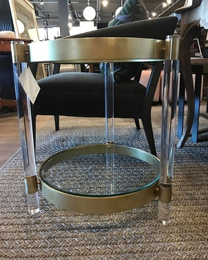 Glass, Lucite & Brass Side Table Home decor