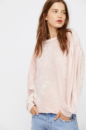 Free People Milan Layering Top in Blush Velvet Tops