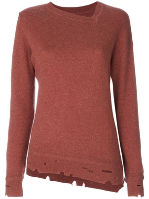 Isabel Marant Étoile Asymmetrical Long Sleeve Pullover in Rust Tops