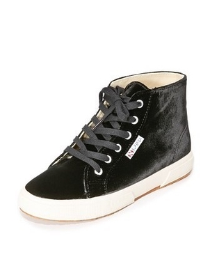 Superga Superga Black Velvet High Top Sneaker Shoes