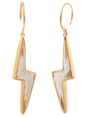 Marie-Hélène de Taillac 22kt Gold Green Quartz Ziggy Stardust Earrings Jewelry