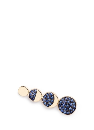 Pamela Love Moon Phase 18kt Yellow Gold with Pave Blue Sapphires Earring Climber Jewelry