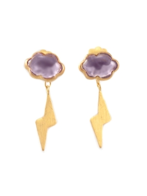 Marie-Hélène de Taillac 22kt Gold Amethyst Thunderstorm Earrings Jewelry