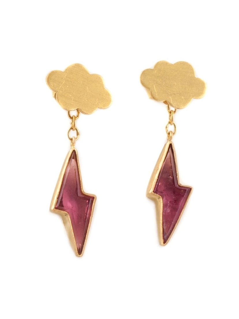 22kt Gold Pink Tourmaline Thunderstorm Earrings