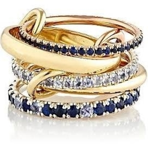 Spinelli Kilcollin 5 Link Yellow Gold Ring with Pave Blue Sapphires and Diamonds Jewelry